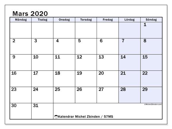 Kalender mars 2020, 57MS. Kalender för året att skriva ut gratis.
