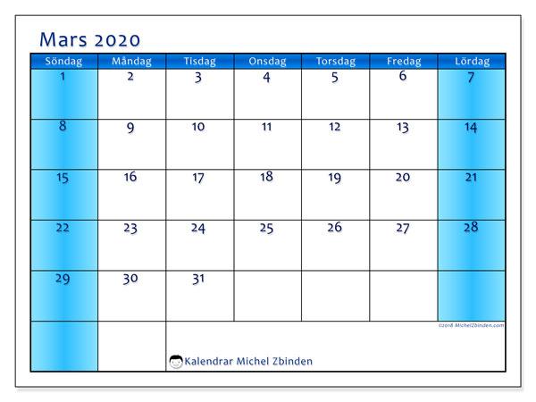 Kalender mars 2020, 58SL. Gratis utskrivbara kalender.
