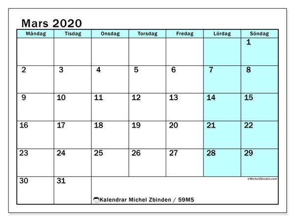 Kalender mars 2020, 59MS. Kalender för gratis utskrift.