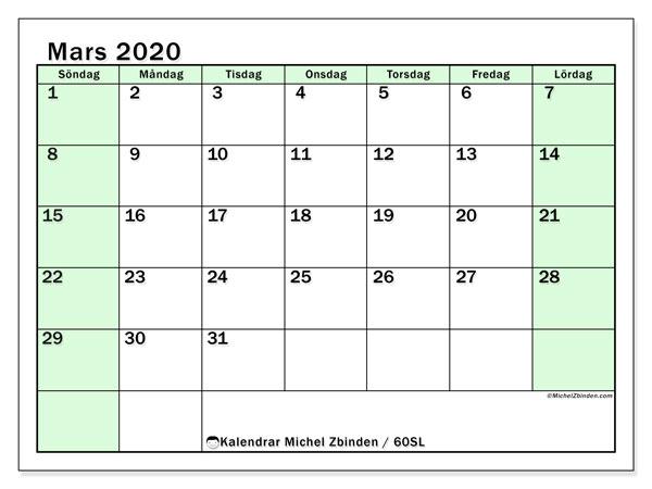 Kalender mars 2020, 60SL. Schema för att skriva ut gratis.