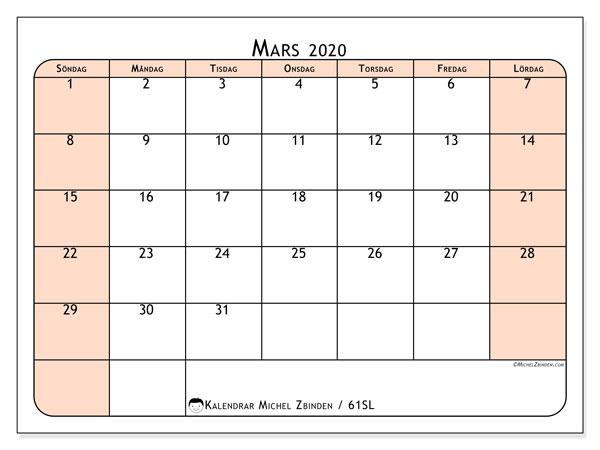 Kalender mars 2020, 61SL. Gratis kalender att skriva ut.