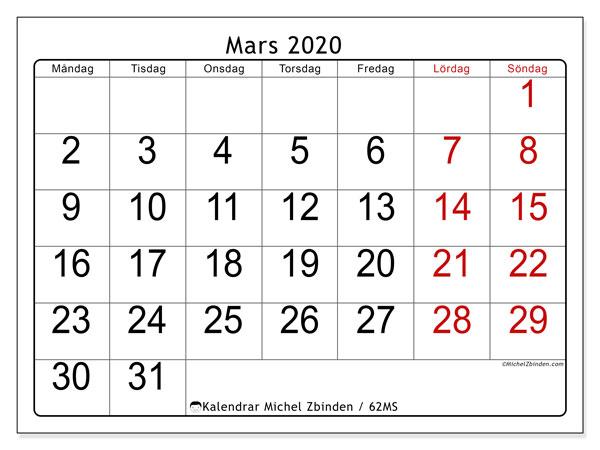 Kalender mars 2020, 62MS. Kalender för gratis utskrift.