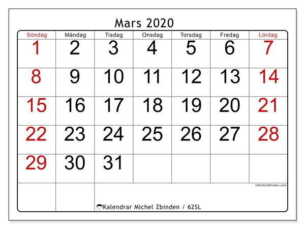 Kalender mars 2020, 62SL. Schema för att skriva ut gratis.
