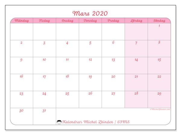 Kalender mars 2020, 63MS. Schema för att skriva ut gratis.