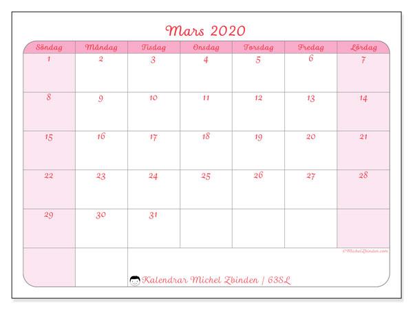 Kalender mars 2020, 63SL. Almanak för att skriva ut gratis.