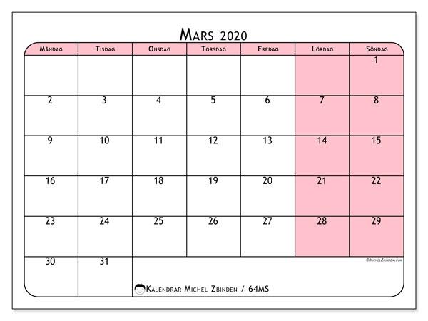 Kalender mars 2020, 64MS. Månadskalender för att skriva ut gratis.