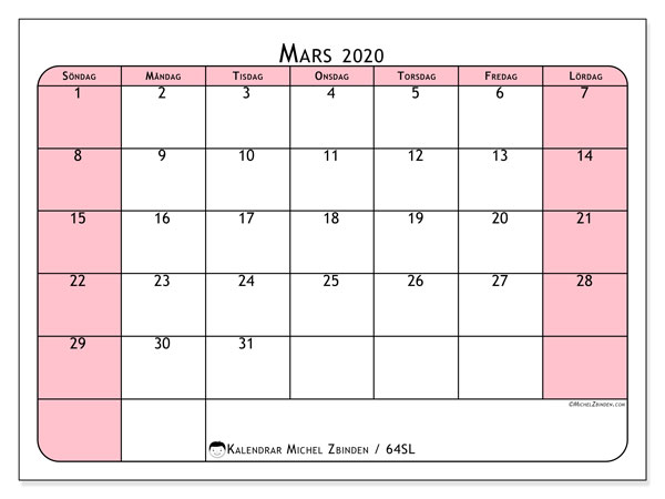 Kalender mars 2020, 64SL. Schema för att skriva ut gratis.