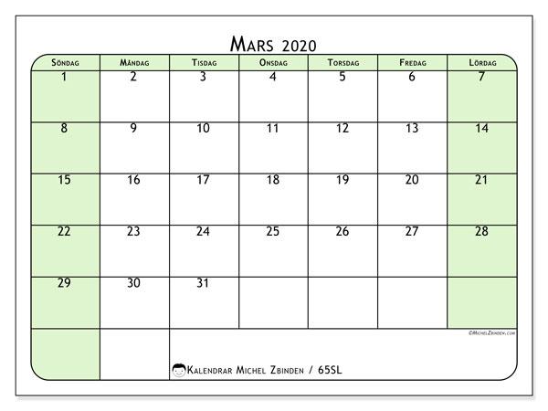 Kalender mars 2020, 65SL. Månadskalender för att skriva ut gratis.