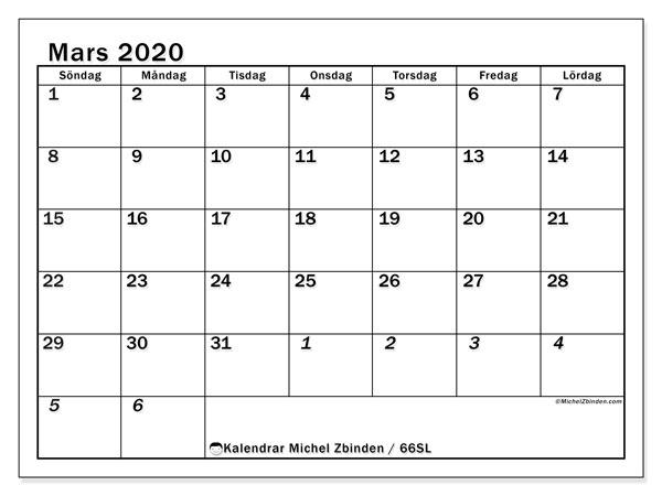 Kalender mars 2020, 66SL. Almanak för att skriva ut gratis.