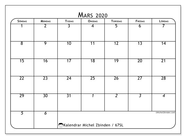 Kalender mars 2020, 67SL. Gratis utskrivbara kalender.