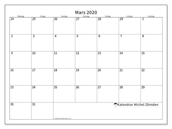 Kalender mars 2020, 70MS. Almanak för att skriva ut gratis.