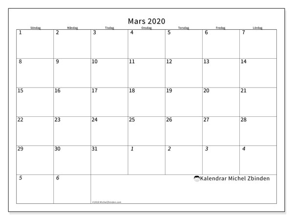 Kalender mars 2020, 70SL. Kalender för gratis utskrift.