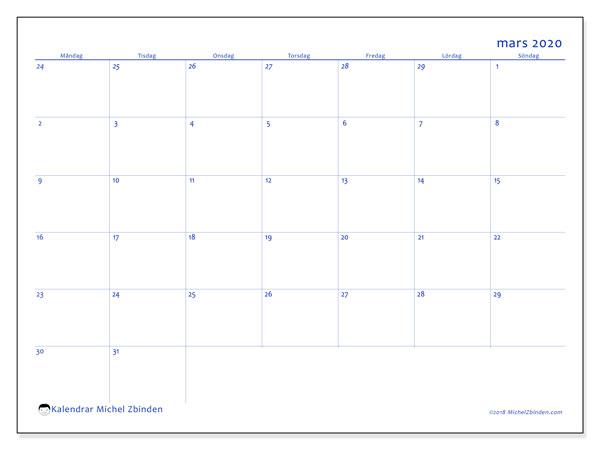 Kalender mars 2020, 73MS. Månadskalender för att skriva ut gratis.