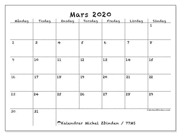 Kalender mars 2020, 77MS. Månadskalender för att skriva ut gratis.