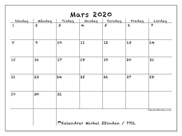 Kalender mars 2020, 77SL. Gratis kalender att skriva ut.