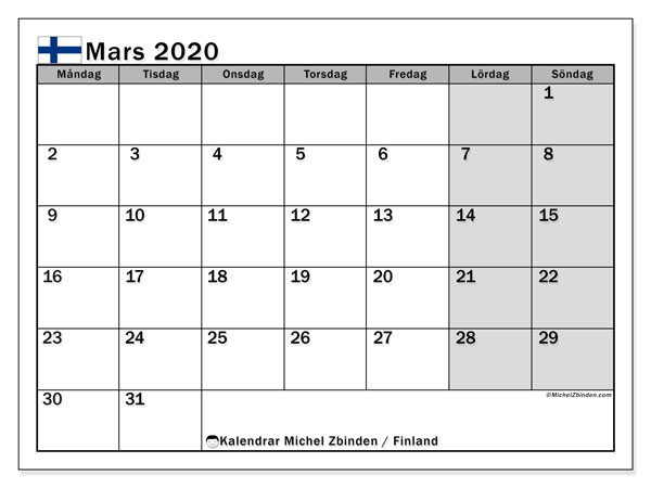 Kalender mars 2020, med semester i Finland. Kalender Semester att skriva ut gratis.