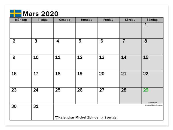 Kalender mars 2020, med semester i Sverige. Kalender för gratis utskrift med helgdagar.