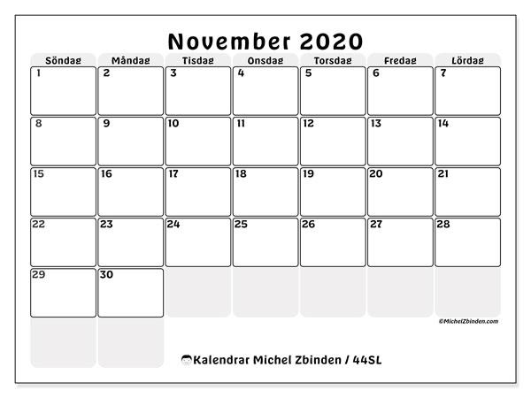 Kalender november 2020, 44SL. Gratis kalender att skriva ut.