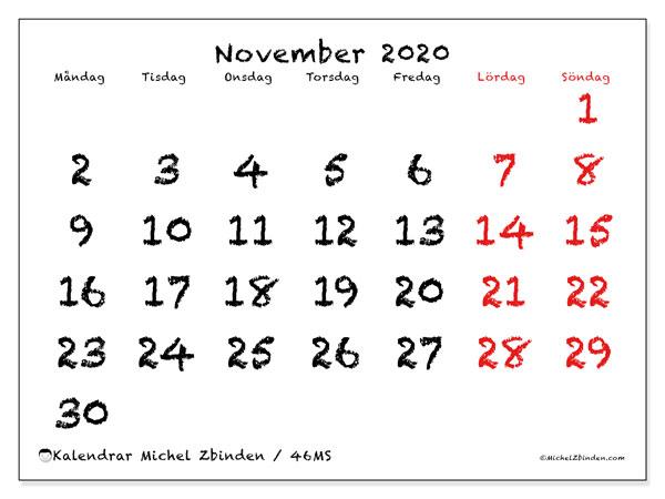 Kalender november 2020, 46MS. Kalender för året att skriva ut gratis.