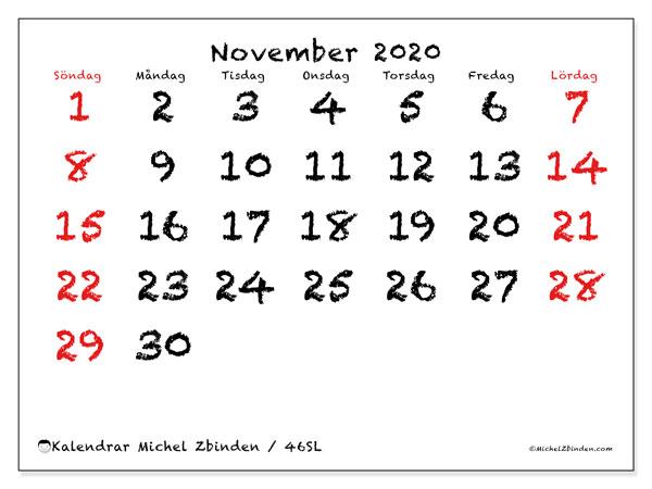 Kalender november 2020, 46SL. Kalender för året att skriva ut gratis.