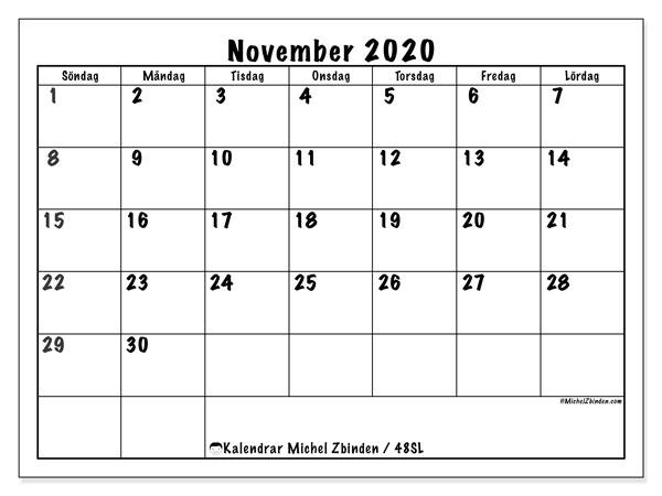 Kalender november 2020, 48SL. Schema för att skriva ut gratis.