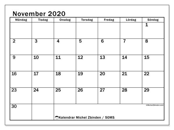 Kalender november 2020, 50MS. Schema för att skriva ut gratis.