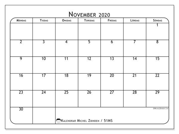 Kalender november 2020, 51MS. Kalender för att skriva ut gratis.