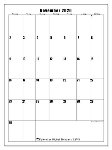 Kalender november 2020, 52MS. Kalender för gratis utskrift.