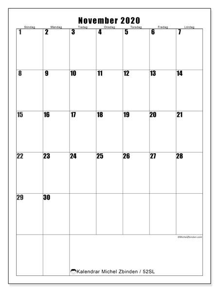 Kalender november 2020, 52SL. Gratis utskrivbara kalender.