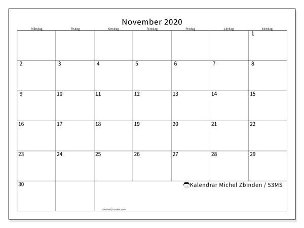 Kalender november 2020, 53MS. Månadskalender för att skriva ut gratis.