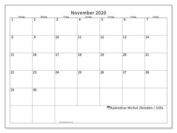 Kalender november 2020, 53SL. Schema för att skriva ut gratis.
