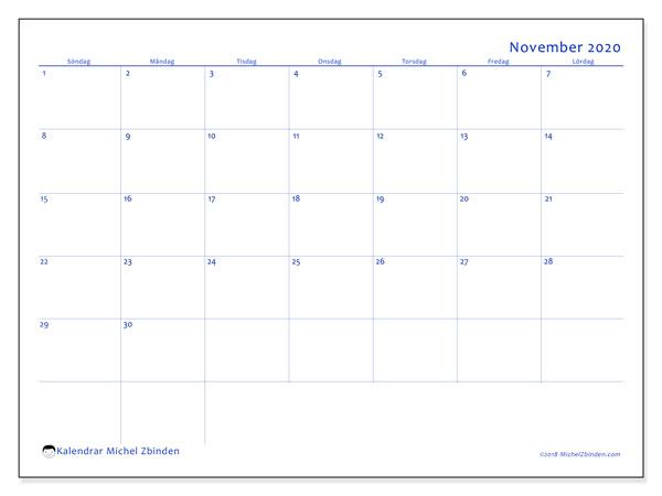 Kalender november 2020, 55SL. Kalender för gratis utskrift.