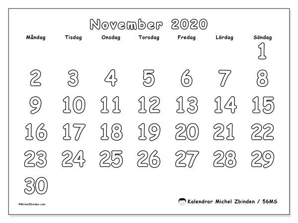 Kalender november 2020, 56MS. Gratis kalender att skriva ut.