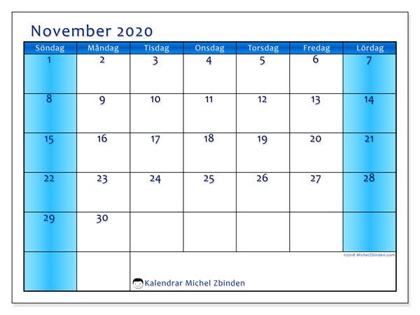 Kalender november 2020, 58SL. Månadskalender för att skriva ut gratis.