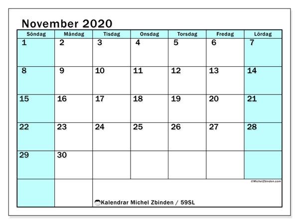 Kalender november 2020, 59SL. Schema för att skriva ut gratis.