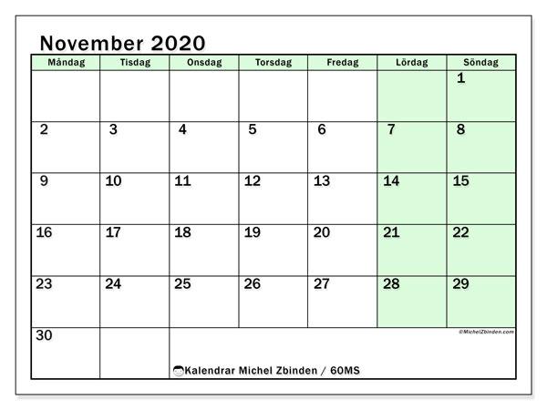 Kalender november 2020, 60MS. Kalender för gratis utskrift.