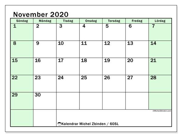 Kalender november 2020, 60SL. Kalender för att skriva ut gratis.
