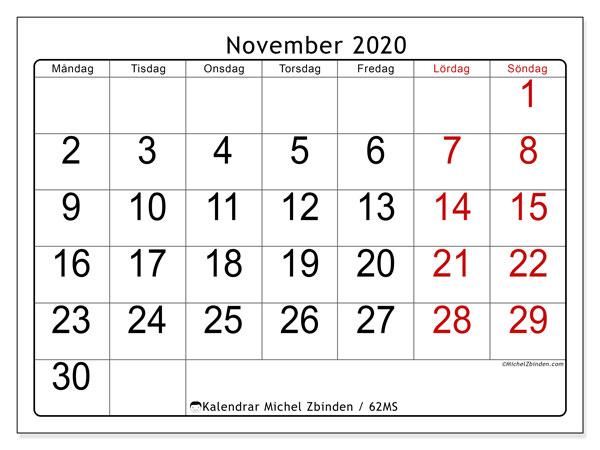 Kalender november 2020, 62MS. Schema för att skriva ut gratis.