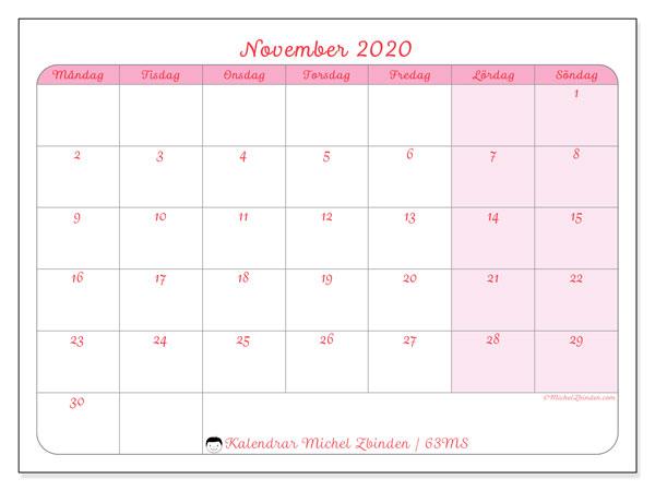 Kalender november 2020, 63MS. Kalender för gratis utskrift.