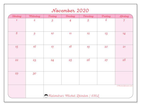 Kalender november 2020, 63SL. Kalender för att skriva ut gratis.