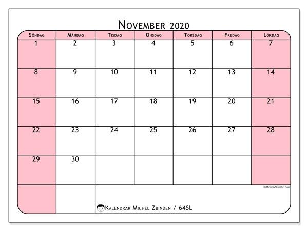Kalender november 2020, 64SL. Kalender för gratis utskrift.