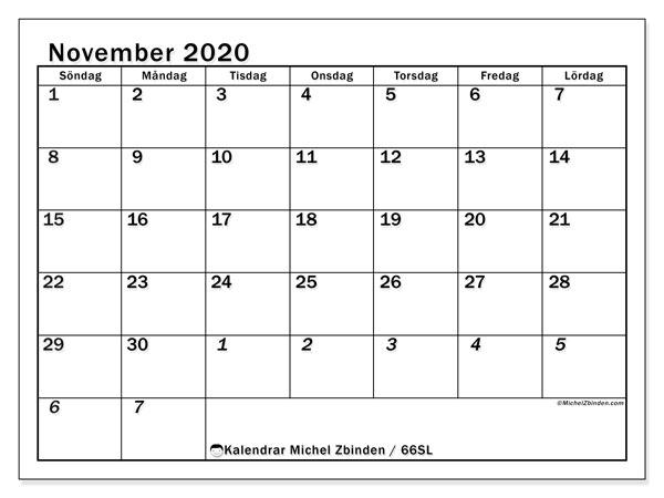 Kalender november 2020, 66SL. Gratis kalender att skriva ut.