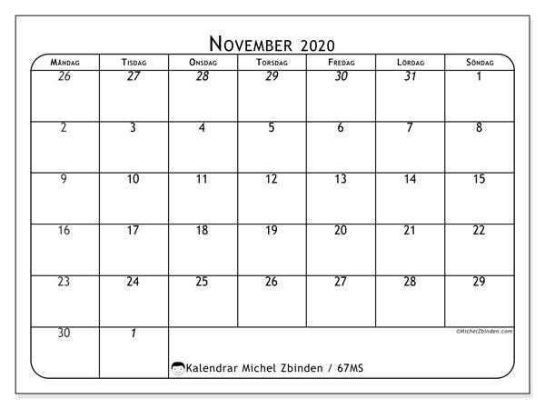 Kalender november 2020, 67MS. Almanak för att skriva ut gratis.