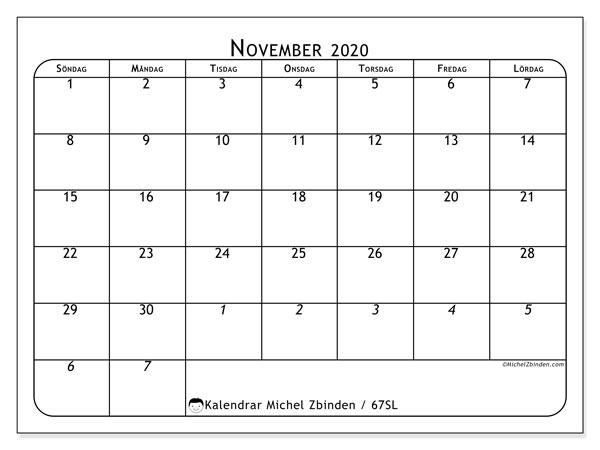 Kalender november 2020, 67SL. Kalender för året att skriva ut gratis.