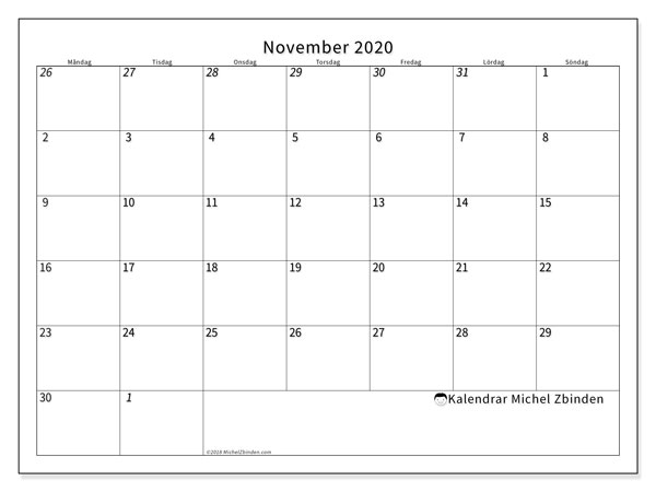 Kalender november 2020, 70MS. Gratis kalender att skriva ut.