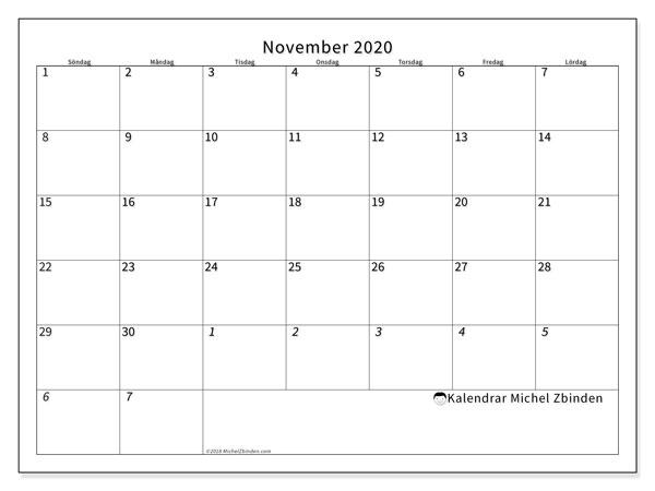 Kalender november 2020, 70SL. Kalender för att skriva ut gratis.