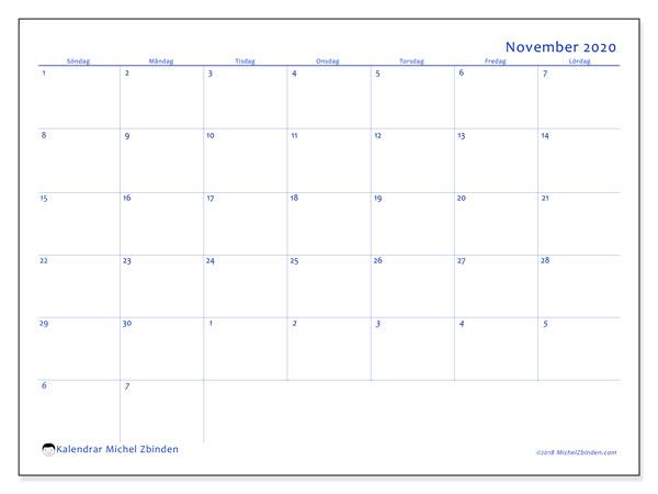 Kalender november 2020, 73SL. Månadskalender för att skriva ut gratis.