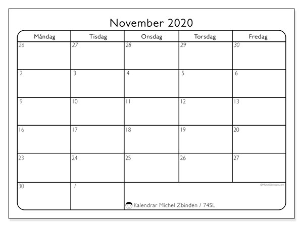 Kalender november 2020, 74SL. Almanak för att skriva ut gratis.