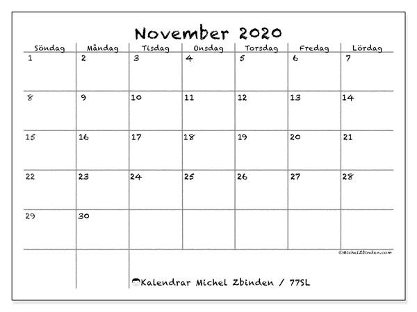 Kalender november 2020, 77SL. Almanak för att skriva ut gratis.