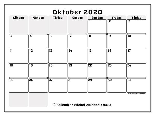 Kalender oktober 2020, 44SL. Gratis kalender att skriva ut.